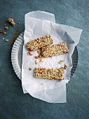 Vegan buckwheat and hemp bars with goji berries