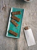 Vegan date energy bars with popped quinoa
