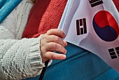 A child's hand holding the Korean flag