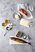 Speck, Räuchermakrele, Dosenfisch, pflanzliche Öle, Butter