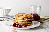 Almond pancakes with cherry compote