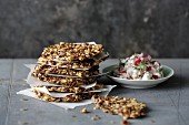 Linseed and cheese crackers with radish cream cheese