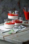 Yoghurt pannacotta with puréed strawberries