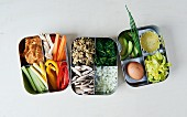 Lunch boxes with healthy ingredients