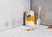 Greek yoghurt with pumpkin purée and coconut chips