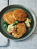 Mexican vegetable and polenta pancakes with guacamole