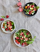 Rocket and cherry tomato salad with raspberry dressing