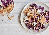 Apple and red cabbage salad with Greek yoghurt and walnuts