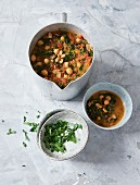 Vegan chickpea and vegetable stew with peanuts