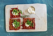 Turmeric and corn waffles with green beans