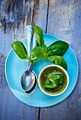 Basil vinaigrette in a small bowl, basil leaves and a spoon on a blue plate