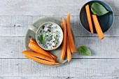 Carrot sticks with basil dip