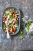 Mediterranean Chickpea Salad in a Serving Dish