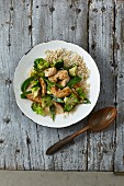 Chicken, ginger and greens