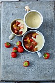 Rhubarb pudding with custard