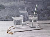 Filled water glasses
