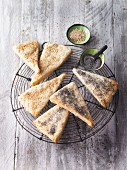 Quark triangles with sesame and poppy seeds