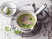 Broccoli soup with coriander and ham