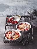 Rhubarb and redcurrant crumble