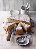 A moist almond and courgette cake