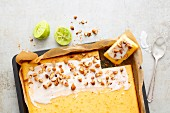 Quick and easy lime sheet cake with almonds