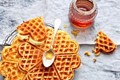 Breakfast waffles with maple syrup