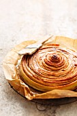A giant cinnamon swirl made of ready-made flaky pastry