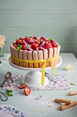Raspberry and strawberry charlotte on a cake stand