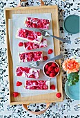 Raspberry cheesecake strips (lactose-free, gluten-free and sugar-free)