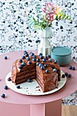 Vegan chocolate and blueberry cake (lactose-free)
