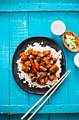 General Tso's chicken on rice (China)