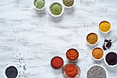 Spices in rainbow colours