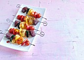 Grilled rainbow vegetable skewers