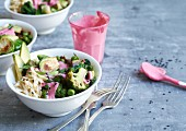 Green veggie bowls with brussels sprouts, broccoli and beetroot sauce