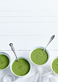 Green soup with leek, ginger, courgette and kale