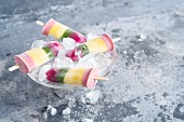 Rainbow yoghurt ice lollies
