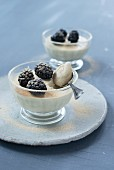 Almond panna cotta with matcha and blackberries