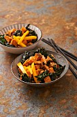 Black cabbage salad with sweet potato, mango and ginger