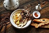 Fried radicchio with hummus