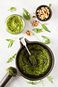 Basil and rocket pesto with walnuts