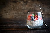 Chia pudding with berries in a glass