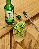 Seoul Mule - a Korean cocktail with cucumber, soju and ginger beer