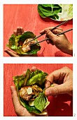 How to make Samgyeopsal gui - Korean grilled pork belly in a lettuce leaf