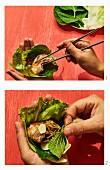 Samgyeopsal Gui - Gegrillten Schweinebauch im Salatblatt aus Korea zubereiten