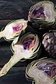 Purple Tunisian artichokes cut in half
