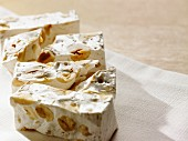 Pieces of nougat on a napkin