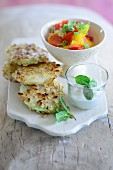 Kohlrabi schnitzels with red and yellow pepper and a mint and yoghurt dip