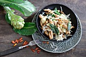 Wholemeal pasta with artichokes, sage and chillies