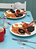 A full English breakfast in a beach café