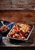 Gnocchi pasta bake with minced beef, tomatoes and parmesan